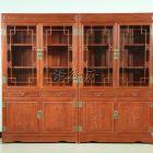 东阳红木家具,缅花梅兰竹菊清式书柜两组合,雕花精致的