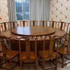 中式古典老榆木圆桌餐桌 酒店大圆桌定做直销