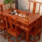 中式古典老榆木茶桌茶�_明清仿古