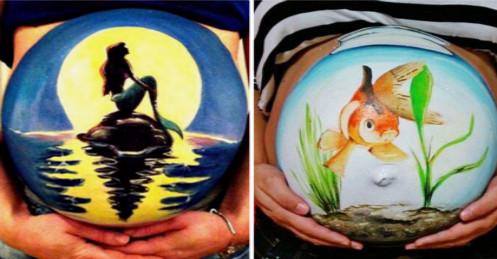 在孕肚上画画真的很美