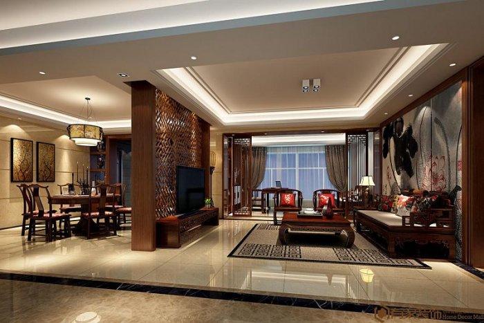 福州二室二厅中式现代棕色装修效果图 福州二室二厅中式现代棕色装修效果图 2013图片