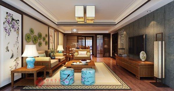 福州客厅四室二厅中式古典棕色装修效果图 福州客厅四室二厅中式古典棕色装修效果图 2013图片