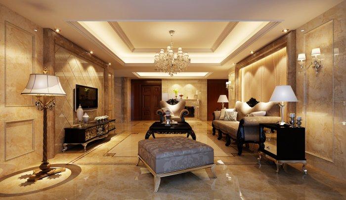 福州客厅四室二厅欧式现代棕色装修效果图 福州客厅四室二厅欧式现代