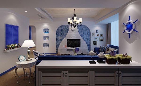 福州客厅三室一厅泛地中海白色装修效果图 福州客厅三室一厅泛地中海白色装修效果图 2013图片