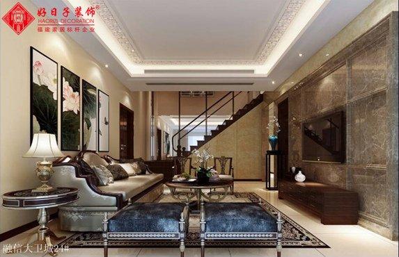 福州客厅三室二厅中式现代棕色装修效果图 福州客厅三室二厅中式现代棕色装修效果图 2013图片