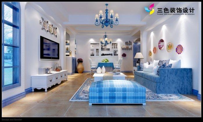 福州客厅二室二厅泛地中海蓝色装修效果图 福州客厅二室二厅泛地中海蓝色装修效果图 2013图片