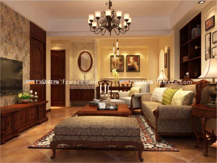 福州客厅二室一厅美式风格棕色装修效果图_01 福州客厅二室一厅美式风格棕色装修效果图2013图片_01